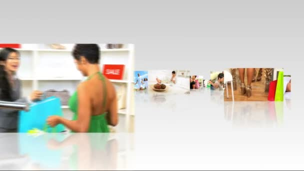 Montage 3D fly through images young Americans in different lifestyles — Vidéo