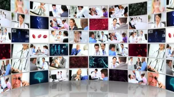 Montaje mural de video imágenes en 3d de los pacientes y médicos consultores — Vídeo de stock
