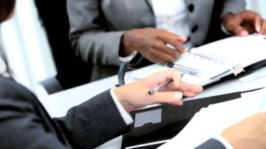 Handshake of multi ethnic businesswoman in modern workplace — Stock Video