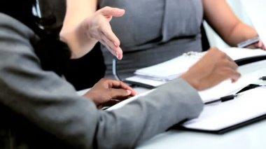 Handshake of diverse businesswomen closing new contract — Stock Video