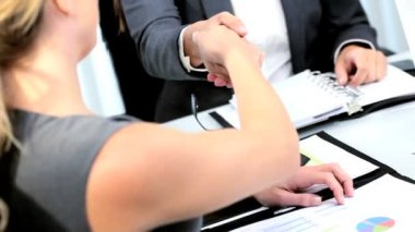 Caucasian women business appointment ending with handshake using planner in modern office