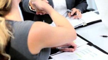 Caucasian management team closing deal with handshake — Stock Video #18313001