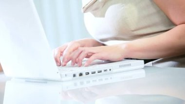 Close up of businesswoman's hands typing on keyboard — Wideo stockowe
