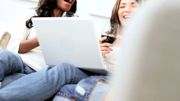 Multi ethnic women drinking red wine using laptop — Vidéo