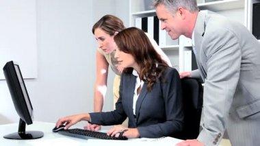 Team Financial Advisors Pleased Share Values — Stock Video