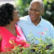 Happy ethnic retired couple relaxing gardening - Stock Photo
