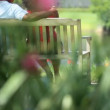 Closeness of diverse retired couple looking lake land — Stock Video