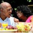 Stock Video: Senior ethnic couple enjoying low fat lunch