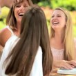Young family laughing online networking — Stock Video