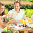 Family eating sensible healthy meal — Stock Video