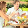 Parents and daughters eating low fat lunch — Stock Video