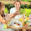 Caucasian family enjoying low calories lunch — Vídeo de stock