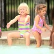 Diverse friends playing together swimming pool — Stock video