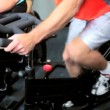 Stock Video: Lower Body Members in Gym