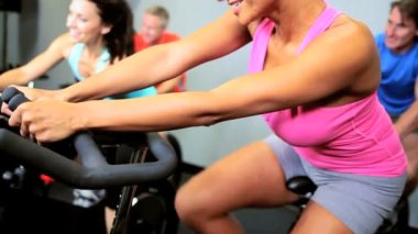 Keeping Fit on Modern Exercise Bike — Stock Video