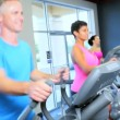Stock Video: Exercising Health Club Equipment