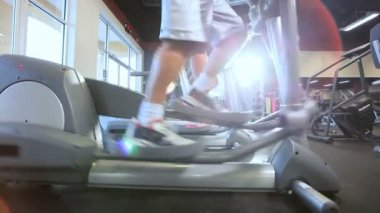 Exercising on Cross Trainers — Stock Video