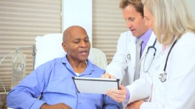 Senior Patient Care Being Recorded Wireless Tablet — Stock Video