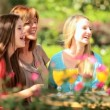 Stock Video: Mother Daughters Outside Garden