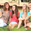 Caucasian Family Sitting Home Garden — Stockvideo
