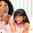 Vídeo Stock: African American Mother Child Wireless Tablet