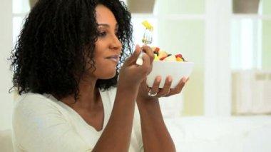 Healthy Female Following Low Fat Diet — Stock Video