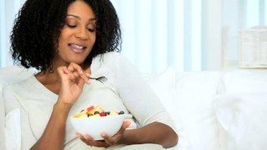 Healthy Female Enjoying Low Fat Diet — Stock Video