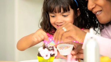 Little Ethnic Girl Young Mom Pretend Baking — Stock Video