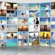 Montage Caucasian Couple Tropical Beach Wedding and Honeymoon - Stock Photo