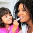 Young Ethnic Mom Daughter Using Cosmetics — Vídeo de stock