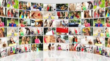 Montage Young Females Enjoying Shopping Lifestyle — Stock Video