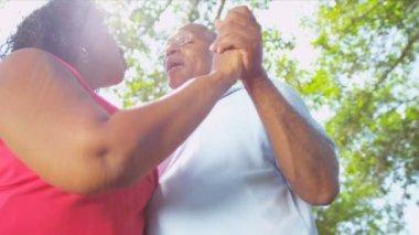 Senior Couple Enjoying Retirement Living Dancing Outdoors — Stock Video