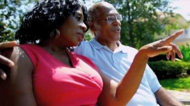 Volwassen afrikaanse amerikaanse echtpaar pensioen huis tuin — Stockvideo