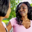 African American Mom Teenage Daughter Together Outdoors — Stock Video