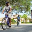 Healthy Ethnic Family Bike Riding Together — Stock Video #18771907