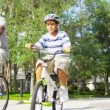 African American Parents Son Riding Bicycles — Stock Video #18772013
