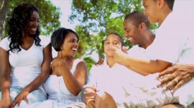 Ethnic brothers sister laughing together with parents sitting on garden bench together shot on RED EPIC