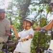 Stock Video: Family Cycling Fitness