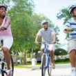 Ethnic Family Enjoying Cycling Together — Stock Video #18784499