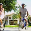 African American Parents Son Riding Bicycles — Vídeo de stock