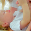 Blonde Mom Holding Young Child — Stock Video