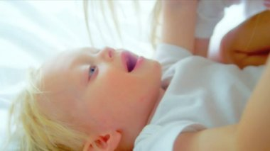 Blonde Haired Baby Girl Laughing Mother — Stock Video
