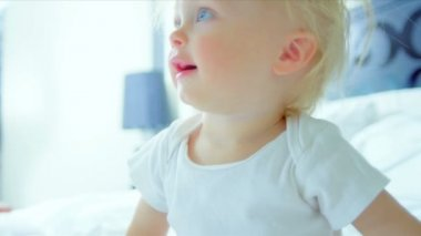Little Blonde Haired Boy Laughing Mother — Stock Video