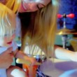 Baby Girl Mom Fun Playing Drums — Stock Video