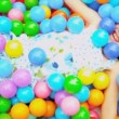 Cute Blonde Child Enjoying Ball Pool — Stock Video #18888567