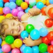 Stock Video: Pre School Caucasian Girl in Ball Pool