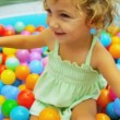 Childhood Fun in Garden Ball Pool — Stock Video