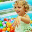 Young Child Playing Ball Filled  Pool — Stock Video