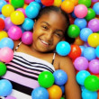 Cute African American Girl Enjoying Ball Pool — Stock Video #18892539