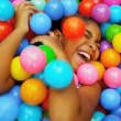 Little Caucasian Girl in Ball Pool — Stock Video #18892651
